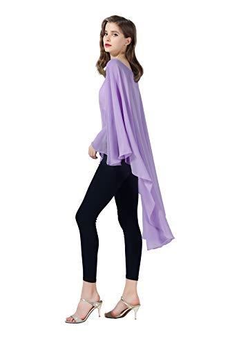 Chiffon Capelet Sheer Bridal Shawl For Women Materbity Cape Plus Size Poncho Wrap Violet ()