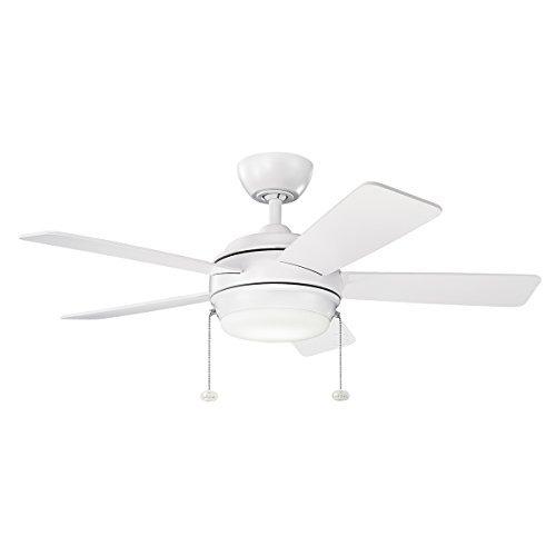 Kichler 330171NBR, Starkk LED Natural Brass 42 Ceiling Fan with Light