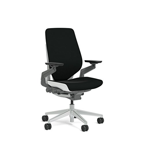 (Steelcase Gesture Task Chair: Shell Back - Platinum Metallic Frame/Base/Seagull Accent - Standard Carpet Casters)