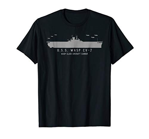 (USS Wasp CV 7 WWII Aircraft Carrier Silhouette T-shirt )