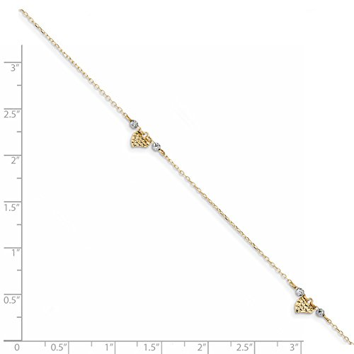 ICE CARATS 14k Two Tone Yellow Gold Heart Beads 1in. Adjustable Chain Plus Size Extender Anklet Ankle Beach Bracelet Fine Jewelry Gift Set For Women Heart by ICE CARATS (Image #3)