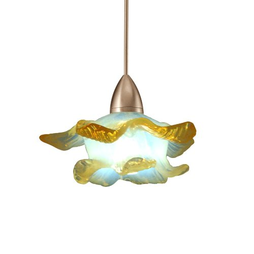 (WAC Lighting MP-LED533-OP/BN Mini Brittany LED Pendant Fixture with Brushed Nickel Canopy, One Size, Opaline)