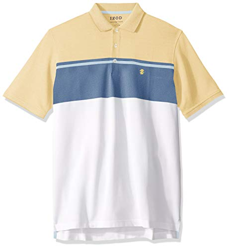 IZOD Men's Big and Tall Advantage Performance Short Sleeve Colorblock Polo, Lemon, X-Large ()