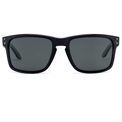 BNUS Square Black frame Polarized Sunglasses for men women Square Black frame grey glass lens (Black/Grey Polarized, Polarized ()