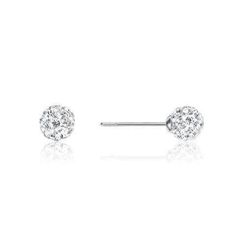 6mm Disco Ball Stud Earrings for Girls Women SKA Jewelry Sparkly Shiny Cubic Zirconia Ball Earrings White Gold Plated