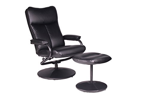 Office Factor Bonded Leather Modern Recliner Chair With Ottoman Swivel Seat Knob Adjusting Recliner Extra Padding On Seat and Back 62 Pounds Foam Density On Seat And 55 Pounds Density on Back (BLACK)