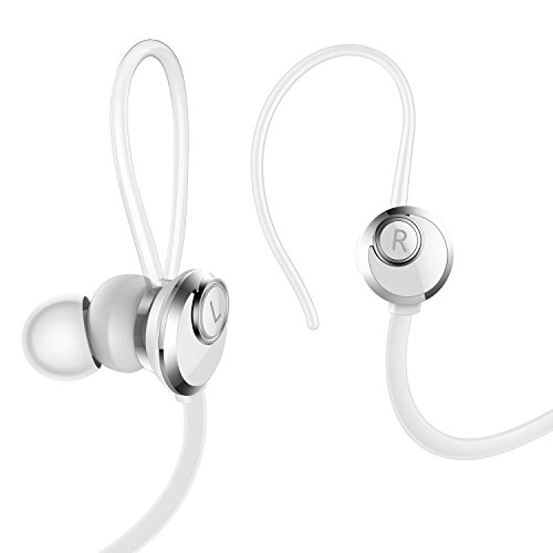 AILIHEN Sport Headphones with Microphone and Volume control for Running Workout , Noise Isolating Bass Stereo Wired Earphones In Ear Earbuds for iPhone iPod iPod Laptop Mac Tablets Computer (White)