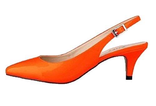 HooH Women's Pointed Toe Kitten Slingback Dress Sandals Orange uaFQyN9pP