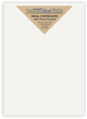 300 Sheets Chipboard 24pt white 1 side - 5.5'' X 8.5'' (5.5X8.5 Inches) Half Letter | Statement Size - Light Medium Weight Thickness PaperBoard .024 (point) Caliper White Coated Cardboard Paper by ThunderBolt Paper