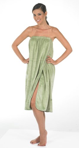 Canyon Rose Cloud 9 Women's Plush Microfiber Knee Length Spa Wrap, Sage (Sage Lounge)