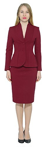 Marycrafts Women's Formal Office Business Work Jacket Skirt Suit Set 14 Burgundy ()