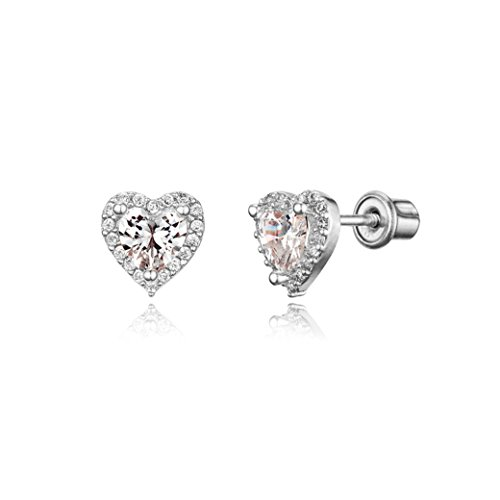 Price comparison product image 925 Sterling Silver Rhodium Plated White Heart Cubic Zirconia Screwback Baby Girls Earrings