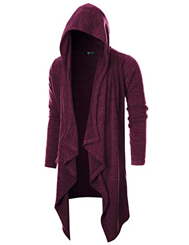 GIVON Mens Long Sleeve Draped Lightweight Ruffle Shawl Collar Cardigan Hooded Cardigan with Pocket/DCC145-PURPLE-S