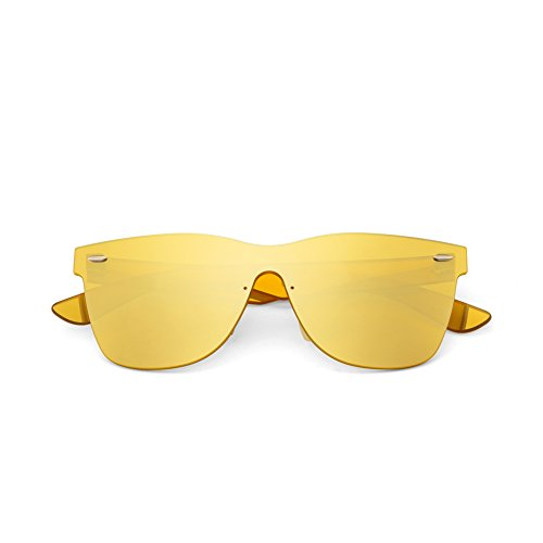 2020Ventiventi Yellow Sunglasses for Women/Men Square Mercury Lens No Frame Glass for Driving for Night Vision PC1601C06 (Silver,Yellow)