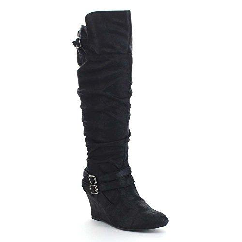 qupid-valley-07-womens-slouchy-buckle-strap-wedge-heel-side-zip-knee-high-boots