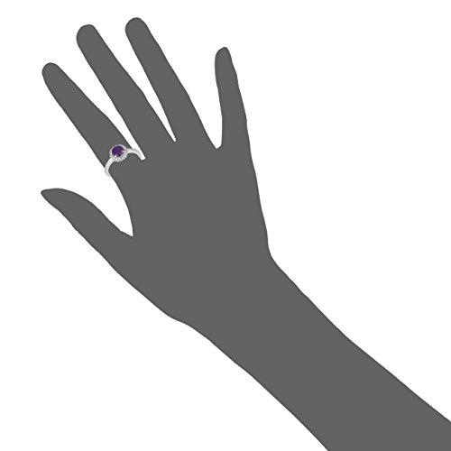Jewelili femme  9carats (375/1000)  Or blanc|#Gold Rond   Violet Amethyst Topas FASHIONRING