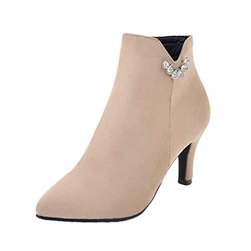 (Cenglings Women's Flock Stiletto Heel Boots Side Zipper Pointed Toe Pumps Slip On Shoes Rhinestone Low Heel Ankle Boot Beige)