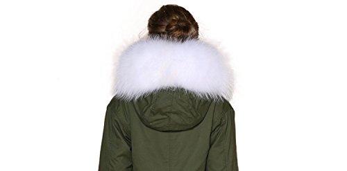 XXL Desmontable nbsp;colores Cuello Parka piel abrigo Weiß 11 de Cuello Capucha bufanda 5rvxEq5wI