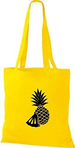 ShirtInStyle Bolso de tela Bolsa de algodón Tu Favorita frutas y hortalizas Piña - fucsia, 38 cm x 42 cm amarillo