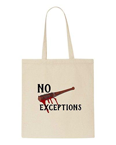 Bag Bloody Zombie Lucille Quote Exceptions Negan No Beige Tote Dead Shopper qR5BU8Bw