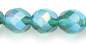 Preciosa Czech Fire 8mm Polished Glass Bead, Faceted Round, Emerald Green Aurora Borealis, 75-Pack