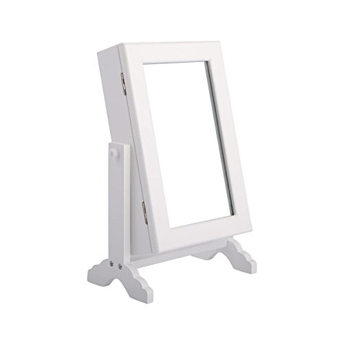 New white Small Mirrored Jewelry Cabinet Organizer Armoire Storage Box Countertop w/ (Mdf Painted Chair)