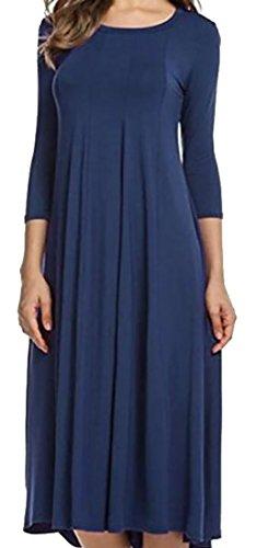 Domple Colore 3 Vestito Loose Solido 4 Blu Manica Womens fit Party Maxi Girocollo Swing qZdwxpn4