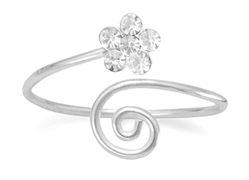 Crystals Wrap Toe Ring - Sterling Silver Wrap Design Toe Ring, Clear Crystal Flower, 3/8 in wide