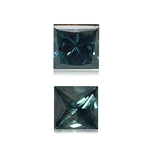 (Mysticdrop 0.25 Cts of 3x3x2.6 mm SI2 Princess Cut Teal Blue Diamond (1 pc) Loose Color Diamond)