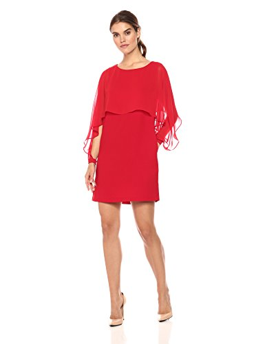 Nanette Nanette Lepore Women's Long Sleeve Shift Dress W/Chiffon Popover, Red Riding Hood, 2 by Nanette Nanette Lepore