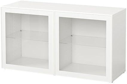 IKEA BESTA - Estantería con puertas de vidrio blanco / blanco ...