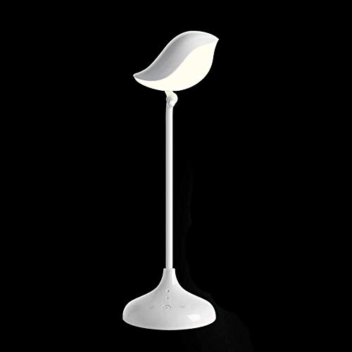 (HYH Creative Adorable Minimalist Durable Dimmable Foldable Bird Shaped LED Desk Lamp Integrated With Bluetooth HiFi Speaker, Touch Switch For Decoration Of Bedroom, Study, Office, Gift, White Ligh A b )