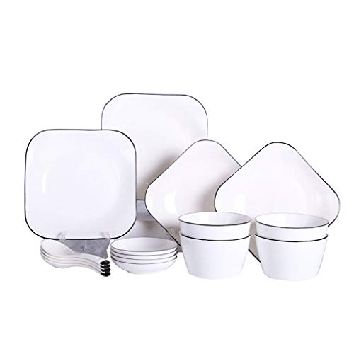 ZHAO YING Ceramic Tableware Solid Color Dish Combination 16-Piece Set Square Household Breakfast Plate Salad Bowl Bowl Plate (Color : White)