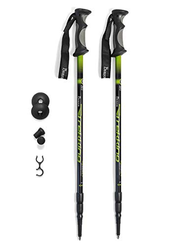 Brazos Walking Sticks Trekking Poles: Collapsible Hiking/Walking Stick with Integrated Anti Shock Technology and Interchangeable Tip - Adjustable Height Trail Poles for Men and Women - 2 Pack, Green