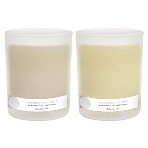 Edens Garden- Premium Aromatherapy Candle Set -Made with Pure Essential Oils- Tangerine Jasmine + Lavender ()