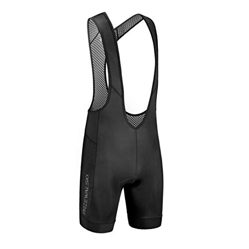 Przewalski Men's Cycling Bib Shorts, 4D Padded Compression Bike Tights Breathable Bicycle Pants UPF 50+, Classic Series, Black/XL