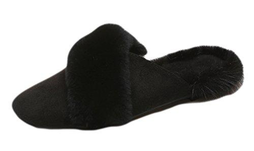Pelliccia Nera In Auspicio Di Inizio Scamosciata Finta Invernali Buon Scarpe Pelle Donna Da Con q7xSxOH