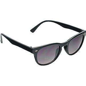 True Gear iShield Re-invented Retro Style Sunglasses with Key hole Bridge (Shiny Black with Smoke Gradient Flash Mirror Lens)