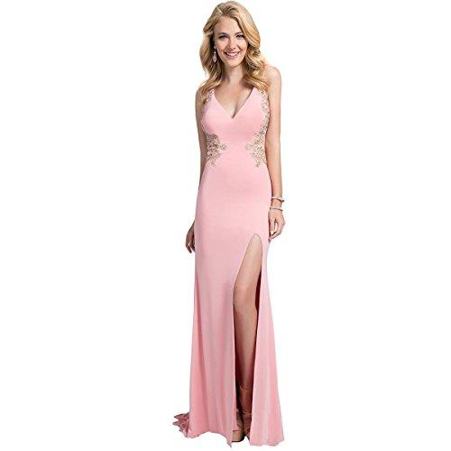 Terani Couture Embellished Illusion Formal Dress Pink 2