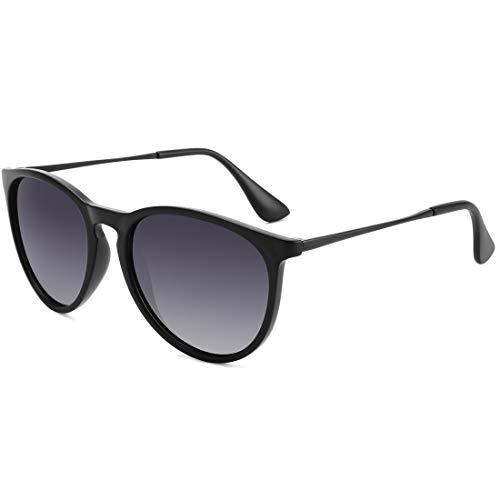 Lightweight Sunglasses - WOWSUN Polarized Sunglasses for Women Vintage Retro Round Girls Black Frame Gradient Gray Lens Shades