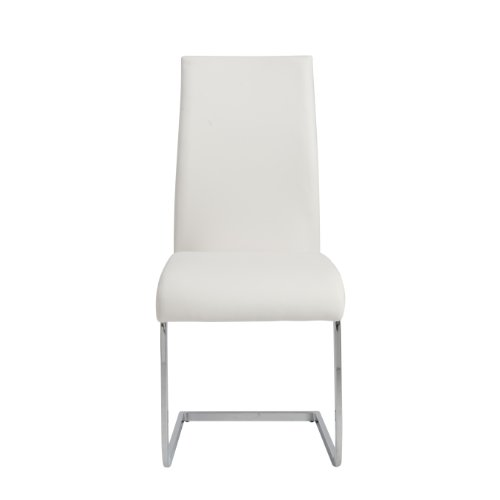 Euro Style Epifania Soft Leatherette Convex Side Chair, White with Chrome, Set of (Back Sled Base Wood Chair)