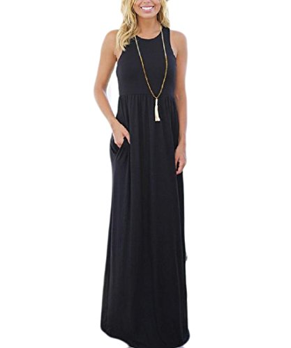Black Waist Maxi Casual Solid High Boho Coolred Color Dress Sleeveless Women UwBq6xvF