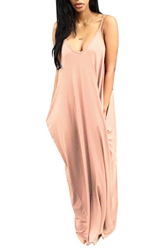 YMING Women's Boho Low V-Neck Adjustable Shoulder Straps Maxi Dress Pink S