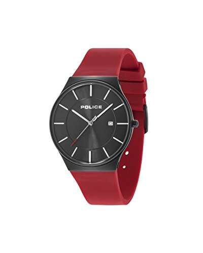 Police Men's Quartz Watch Black Stainless Steel Case with Red Rubber Strap 15045JBCB/02PB