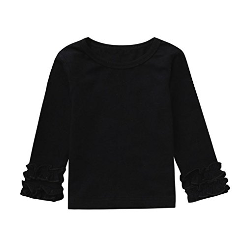 (Yezike Toddler Baby Clothes Girls Long Sleeve Ruffles Candy Color Tops Solid T Shirts Clothes (6-12 Months, Black))