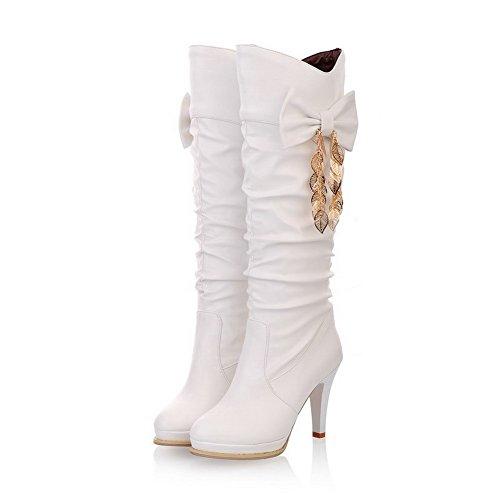 WeenFashion Womens Round Toe High Heels Short Plush Solid Boot with Bowknot, White, 4.5 B(M) (Best Weenfashion Platform Heels)