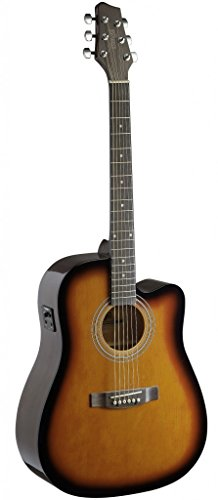 Stagg SA40DCFI-BS Dreadnought Cutaway Acoustic-Electric Guitar with FISHMAN Preamp Electronics - Brown Sunburst