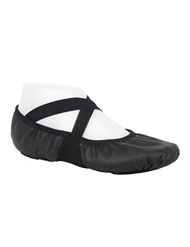 SoDanca Ballettschläppchen Leder Schwarz - Geteilte Sohle SD110L - 35,5