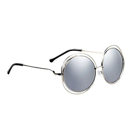 Grande Gafas Cara 1 Sol DT de de de Sol Redonda UV Protección Color Gafas Grande Rostro Marco de 2 Femenino qnYSga