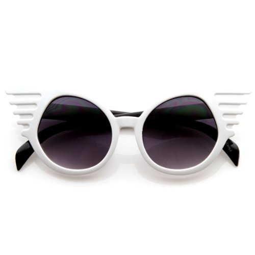 zeroUV - Designer Inspired Fashion Eccentric Unique Round Circle Winged Sunglasses - Winged Sunglasses